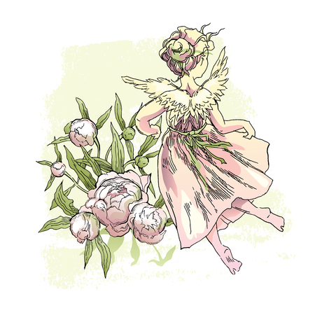 Angel with flowers illustration.