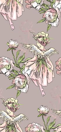 Angel and flowers seamless pattern. Vector illustration of peony flowers and Angel girl flying.