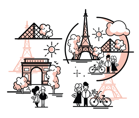 Paris illustration vector artwork. Isolated on white background