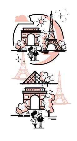 Paris illustration vector artwork. Isolated on white background