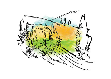 Hand drawn vector sketch of trees and plants. Watercolor background Vettoriali