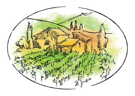 Hand gezeichnete Vektorskizze von Bäumen und Pflanzen. Aquarellhintergrund