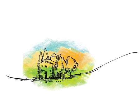 Abbozzo di vettore disegnato a mano di alberi e piante. Sfondo acquerello Vettoriali