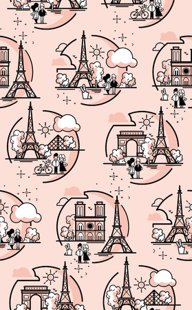 Seamles patterin of Paris. Paris illustration vector artwork. Isolated on white background