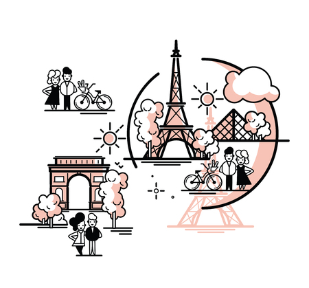 Paris vector illustration. Paris landmarks. Isolated vector artwork.