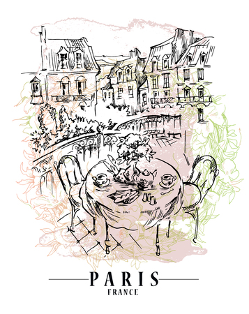 Paris illustration. Vector artwork. Flower and paint spots background. Illustration