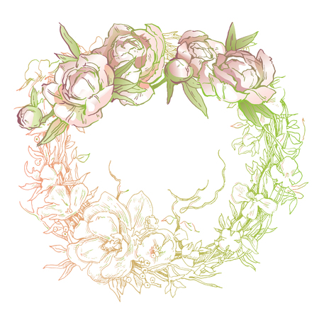 Beautiful hand-drawn bouquet of pink peonies. Vector illustration. Text template. Wreath, brunches and flowers background.