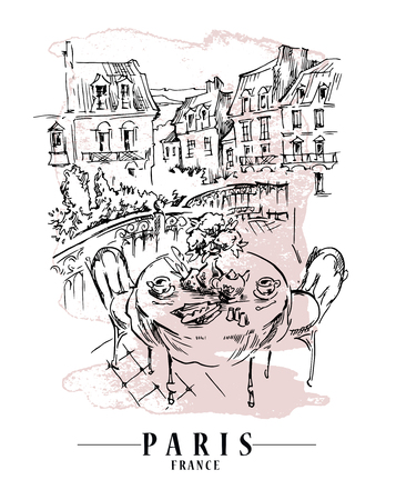 Paris illustration. Vector artwork. Flower and paint spots background. Vettoriali
