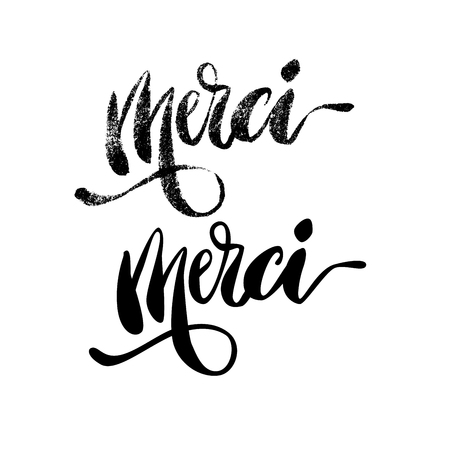 Inspirational lettering Merci. Hand drawn modern brush calligraphy. Vector lettering art. Ink illustration. Lettering element for graphc design. Isolated on white background.