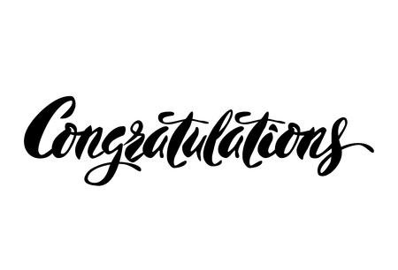 Inspirational lettering Congratulations. Hand drawn modern brush calligraphy. Vector lettering art. Ink illustration. Lettering element for graphc design. Isolated on white background. Ilustração