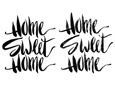 Home sweet home inscription with halftone and fulltone effect. Ink illustration. Modern brush calligraphy. Isolated on white background.