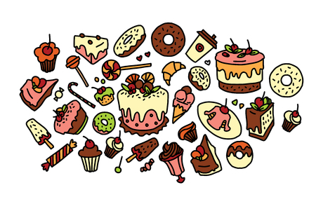 Hand drawn vector sketch of sweets, cakes, donuts, muffins Ilustração