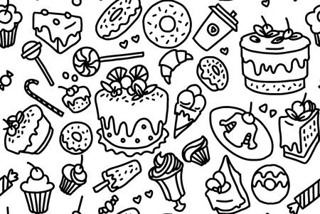 Hand made sketch of tea sets. Vector illustration made in vintage style. Seamless pattern. Ilustração
