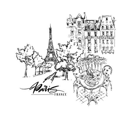 Paris illustration. Vector artwork. Isolated on white background