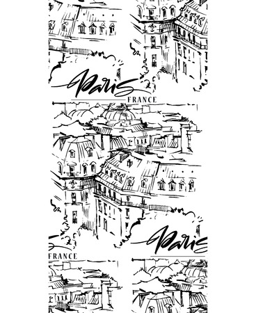Paris vector illustration. Hand drawn vector artwork.
