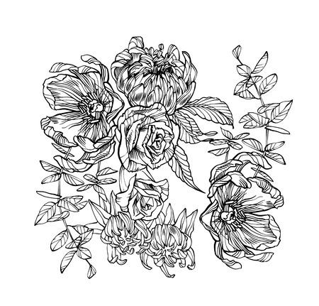 Illustrazione vettoriale di fiori. Opere d'arte floreali