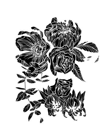 Vector illustration of flowers. Floral artwork