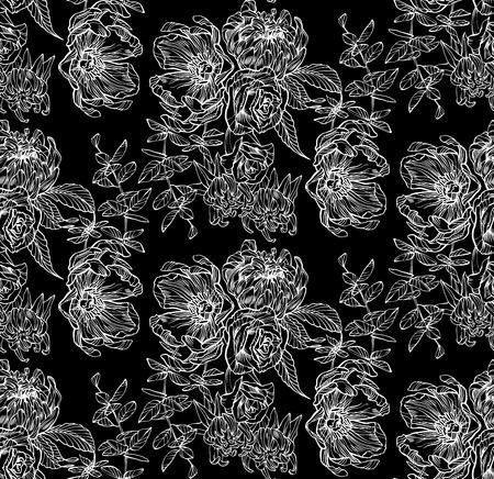 Seamless pattern of flowers. Floral illustration. Botanic atrwork.