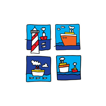 Sea illustration made in cartoon style. Boats, waves, fishes. Vector artwork