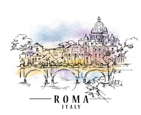 Hand drawn sketch of Rome. Italy illustration.
