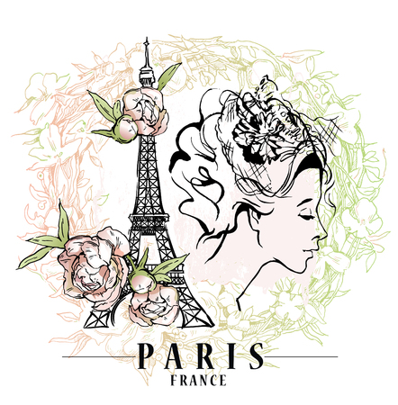 Paris vector illustration. Floral backround, vector illustration.