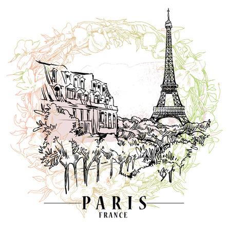 Paris illustration. Vector artwork. Flower and paint spots background. Illustration
