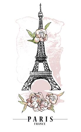 Ilustración de París. Ilustraciones vectoriales. Fondo de manchas de flores y pintura.
