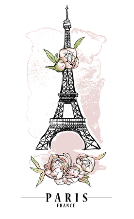 Paris illustration. Vector artwork. Flower and paint spots background. Illusztráció