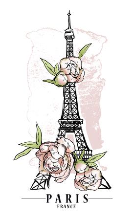 Paris illustration. Vector artwork. Flower and paint spots background. Ilustração