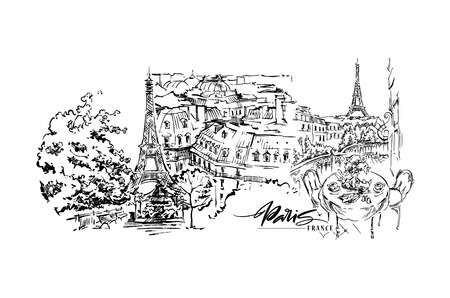 Paris illustration. Vector artwork. Isolated on white background