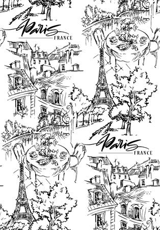 Paris illustration. Vector artwork. Isolated on white background. Seamless pattern