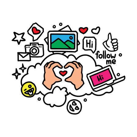 Hand drawn elements of social network symbols. Internet icons. Vector internet elements.