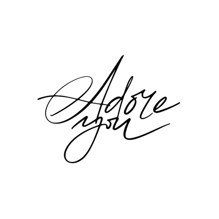 Adore You calligraphy. Fullsize raster inscription. Modern brush calligraphy Illustration