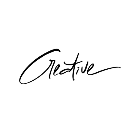 Inspirational quote Creative. Hand drawn modern brush calligraphy. Vector lettering art. Ink illustration. Isolated on white background.