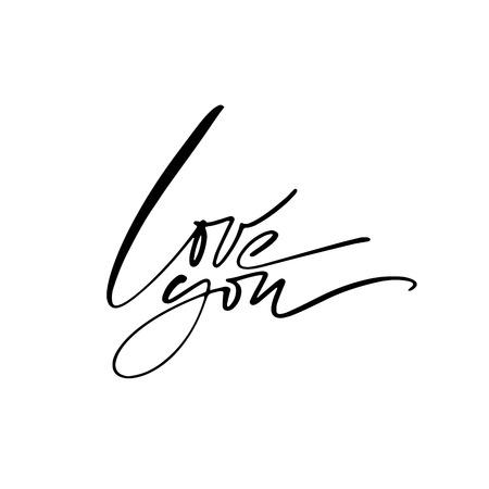Love calligraphy. Fullsize raster inscription. Modern brush calligraphy Banco de Imagens - 124822743