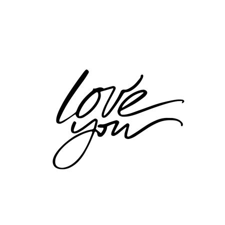Love calligraphy. Fullsize raster inscription. Modern brush calligraphy Banco de Imagens - 124822744