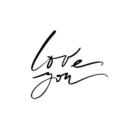 Love calligraphy. Fullsize raster inscription. Modern brush calligraphy Banco de Imagens - 124822747