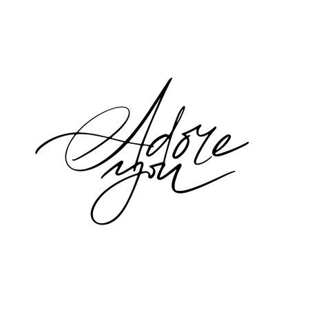Adore You calligraphy. Fullsize raster inscription. Modern brush calligraphy Ilustração