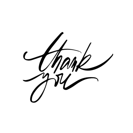Inspirational lettering Thank You with halftone effect. Hand drawn modern brush calligraphy. Vector lettering art. Ink illustration. Lettering element for graphc design. Isolated on white background.
