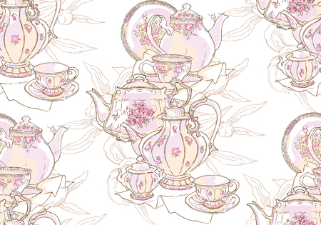 Dishes, teapot, saucer, cup. Vector illustration. Seamless pattern. Background pattern of dishes Porcelain drawing China sketch