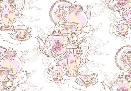 Vaisselle, théière, soucoupe, tasse. Illustration vectorielle. Modèle sans couture. Motif de fond de vaisselle porcelaine dessin Chine croquis