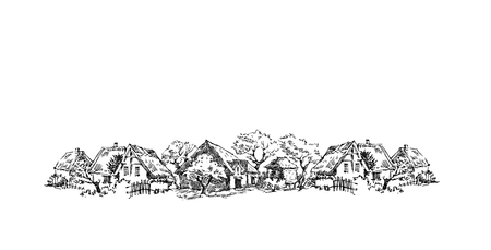 Vector sketch of trees and plants. Hand drawn vector landscape.