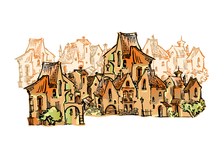 Old town cartoon style sketch. Vector artwork.