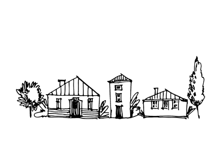 Small town line art sketch landscape. Illustration