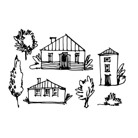 Small town line art sketch landscape. Иллюстрация