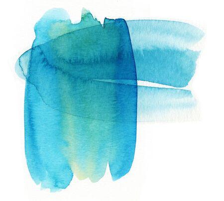 Watercolor spots blue sea. Raster artwork of watercolor spots. Banco de Imagens - 133209636