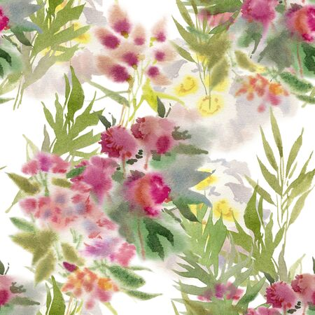 Floral seamless pattern. Hand drawn watercolor field flowers. Banco de Imagens - 133209642