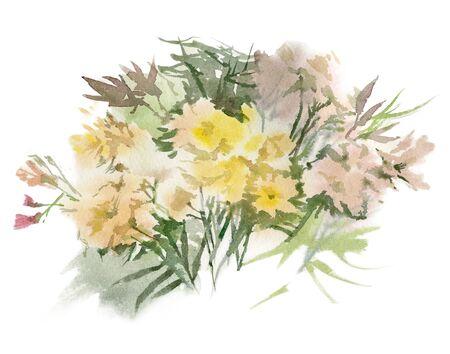 Watercolor flower composition. Hand drawn floral artwork. Fullsize raster.