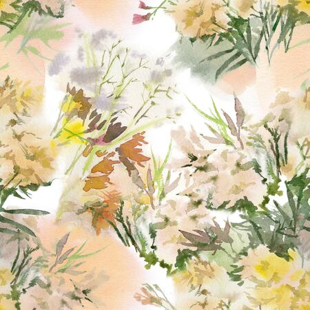 Floral seamless pattern. Hand drawn watercolor field flowers. 免版税图像