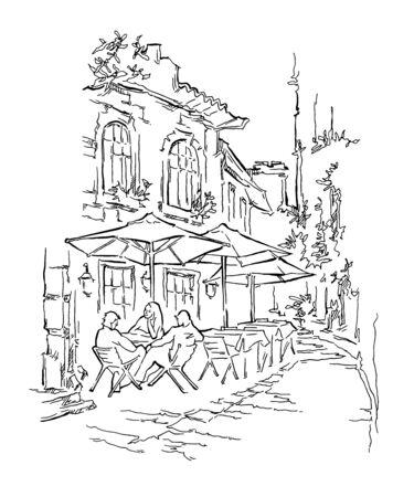 Old street cafe. Vector illustration.  Street of old town. People sitting street cafe. Ilustração